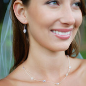 Jessica Necklace in Sterling Silver Clear Crystal shown with the Single Crystal Earrings