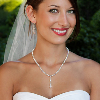 Romance Necklace in Sterling Silver, shown with Romance Cluster Earrings
