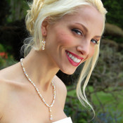 Romance Necklace in 18k Gold Vermeil, shown with Crystal Cluster Earrings in Clear AB