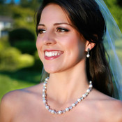 Pearl & Clear Necklace in Sterling Silver, shown with Pearl Post Earrings.