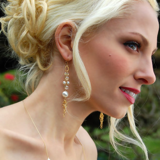 Pearl & Clear Eclectic Earrings in 18k Gold Vermeil