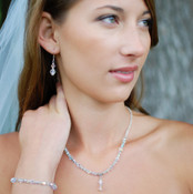 Clear Crystal Lite Necklace in Sterling Silver shown with the Two Crystal Earrings and Small Bracelet