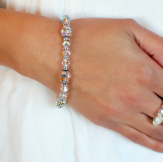 Basic Bracelet shown in Sterling Silver Crystal (Clear AB)