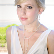 Carolina Lariat, shown with Pearl Dangle Earrings.