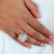 Clear Cluster Ring shown in Sterling Silver