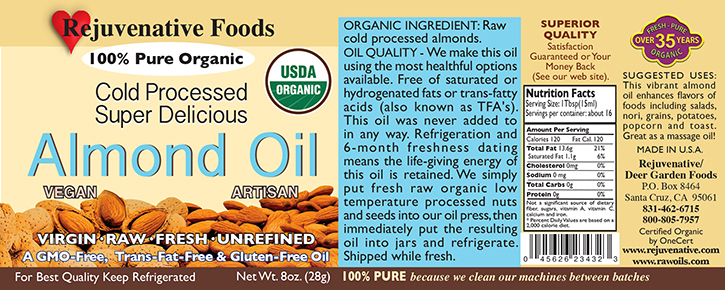 Fresh Pressed Raw Almond Oil Organic label Pure|glass jar||Plastic free||satisfaction guarantee||cold processed|enhances foods with a touch of almond flavor