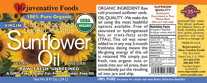 Fresh Pressed Raw Sunflower Oil Organic Label Pure glass jar Plastic free satisfaction guarantee cold processed,enhances salads,nori,grains