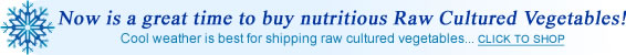 Now is a great time to buy nutritious Raw Cultured Vegetables! Click to shop