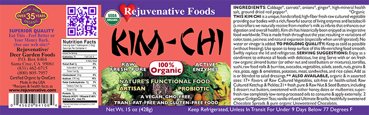 Raw Fresh Organic Kim Chi Label|glass jar|Probiotic Cultured Flora Enzymes|lactobacillus acidophilus|natural culture|plastic free|feel better satisfaction guarantee