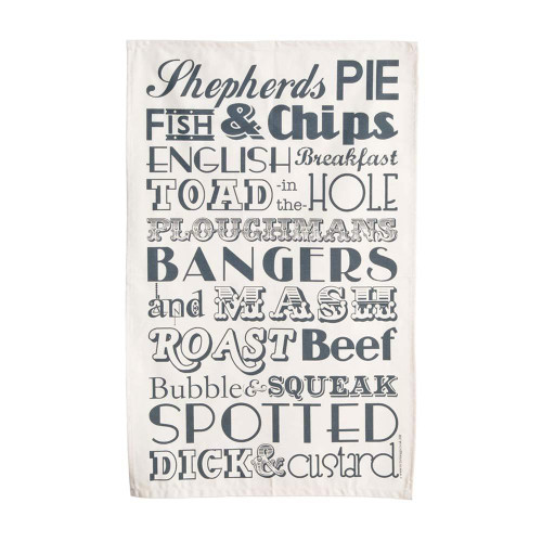 Charcoal English Dinner cotton tea towel from Victoria Eggs.