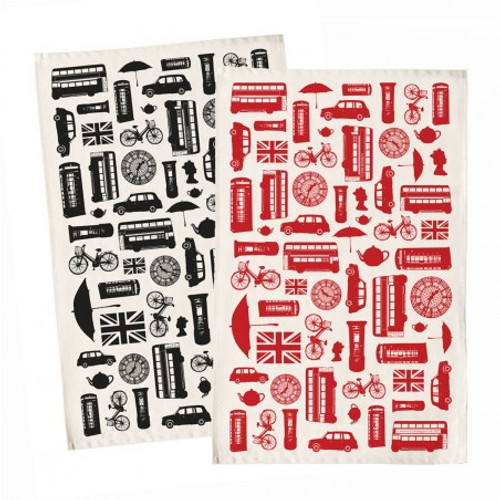Great British Outline Tea Towel - Red