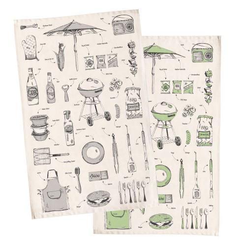 British Barbecue Tea Towel - Grey
