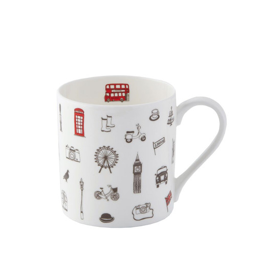 Simply London Mug - Charcoal & Red