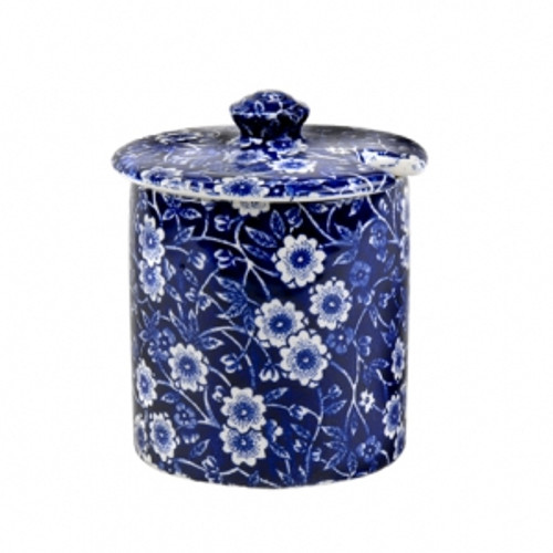 Blue Calico Covered Jam/Sugar Pot
