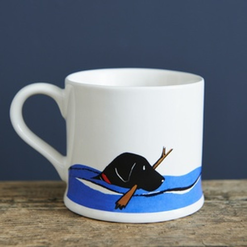 Black lab swimming pottery mug from Sweet William Designs.