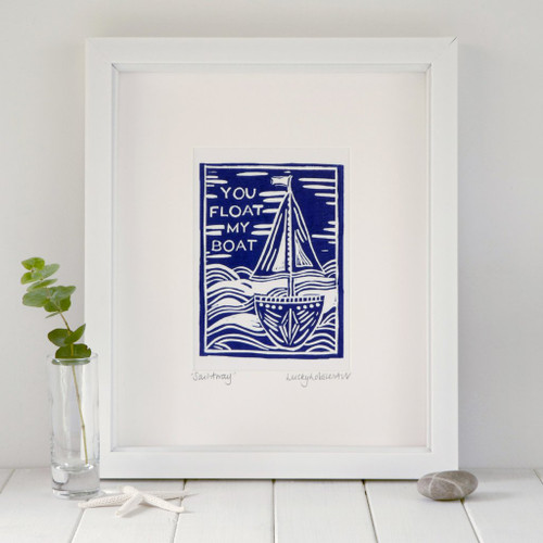 """Framed """"You Float My Boat"""" print taken from the original lino print artwork from Lucky Lobster Art in England."""