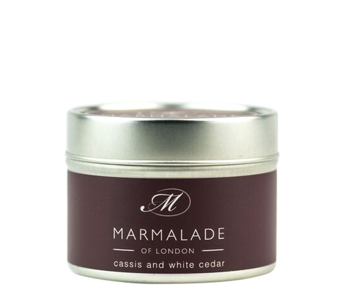 Cassis & White Cedar small tin candle from Marmalade of London.