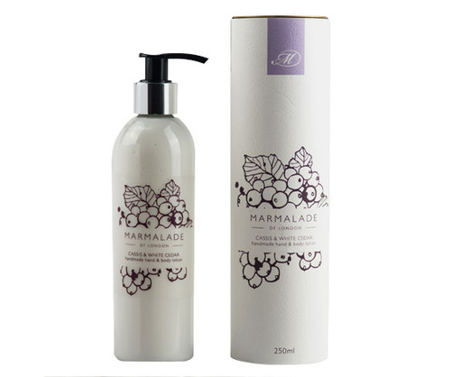 Cassis & White Cedar hand & body lotion from Marmalade of London.