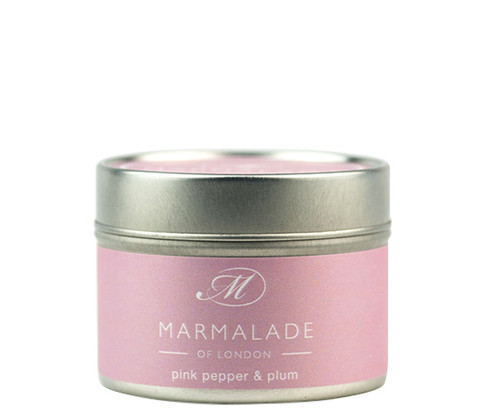Pink Pepper & Plum small tin candle from Marmalade of London.