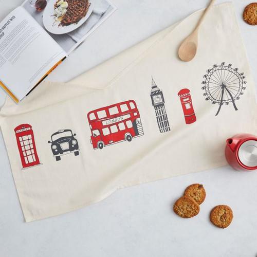 Organic cotton London Skyline Tea Towel from Victoria Eggs.