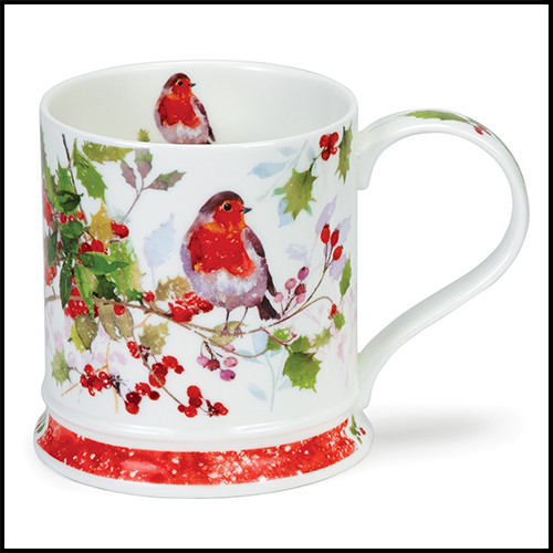 Fine bone china Dunoon Christmas Robins mug with Holly in the Iona shape.