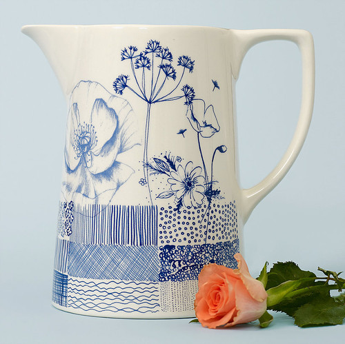 Ceramic large Wild Garden jug. Made in England.