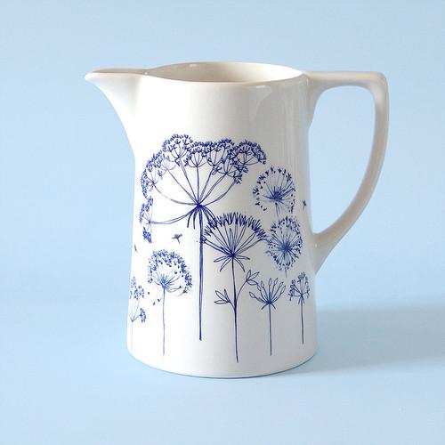 Ceramic medium Seedhead jug. Made in England.