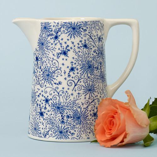 Ceramic small Blue Burst jug. Made in England.
