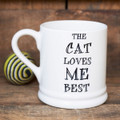 The Cat Loves Me Best pottery mug from Sweet William Designs.