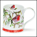 Fine bone china Dunoon Christmas Robins mug with mistletoe in the Iona shape.