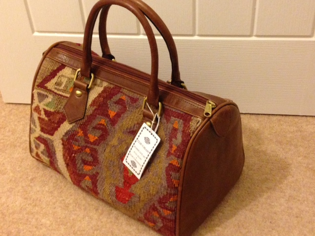Kilim Weekend Bag With Leather Handles Amp Trim From