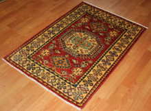 Hand Knotted Kazak Rug from Afghanistan- 93 x 64cm