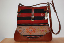 Kilim Shoulder/Cross-body bag with Leather Strap and Trim