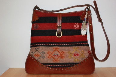 Kilim Shoulder Cross Body Bag With Leather Strap And Trim
