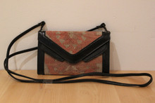 Kilim Purse Style bag with Detachable Leather Strap and Trim