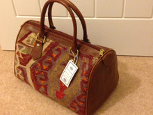 Kilim Weekend Bag with Leather Handles and Trim