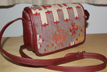 Kilim 'Flap over' Ladies Handbag with Leather Strap