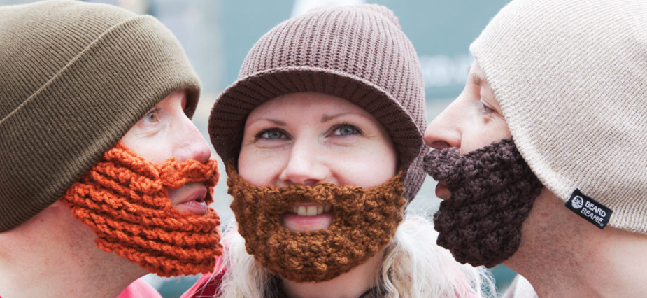 Knitting Patterns By Needle Size : Beard Beanie The Original Knitted Beard Hat with Crochet Beards