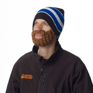 Blue & Black Stripe Beard Beanie
