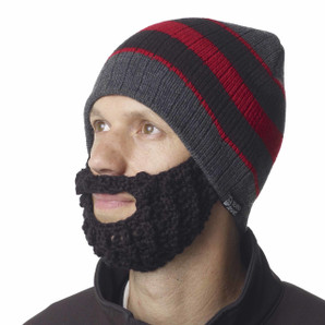 The Original Beard Beanie™ Red & Black Stripe