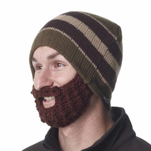 The Original Beard Beanie™ -Olive Striped