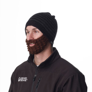 Beard Beanie Charcoal Striped 100% Hand Made