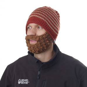 Red Striped Beard Beanie