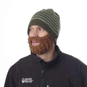 Green Striped Beard Beanie