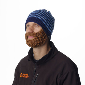 Blue Striped Beard Beanie