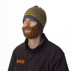 Beard Beanie Yellow Striped 100% Hand Made