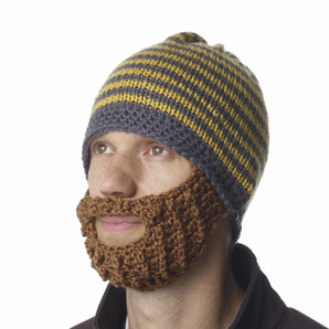 The Original Beard Beanie™ Yellow Striped 100% Hand Made