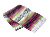 Hot Pink, Apple Green, and White Heavy Weight Mexican Blanket