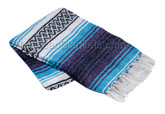 Turquoise Blue, Dark Purple and White Heavy Weight Mexican Blanket