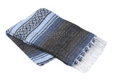 Slate Blue, Light Blue and Dark Brown Heavy Weight Mexican Blanket